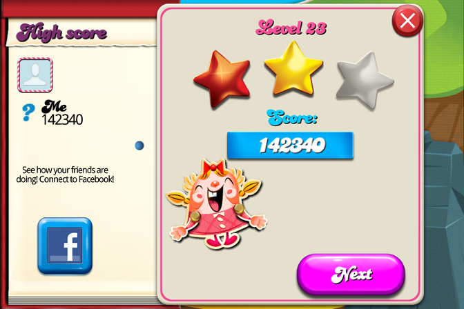 Candy Crush Saga: Level 023 142,340 points