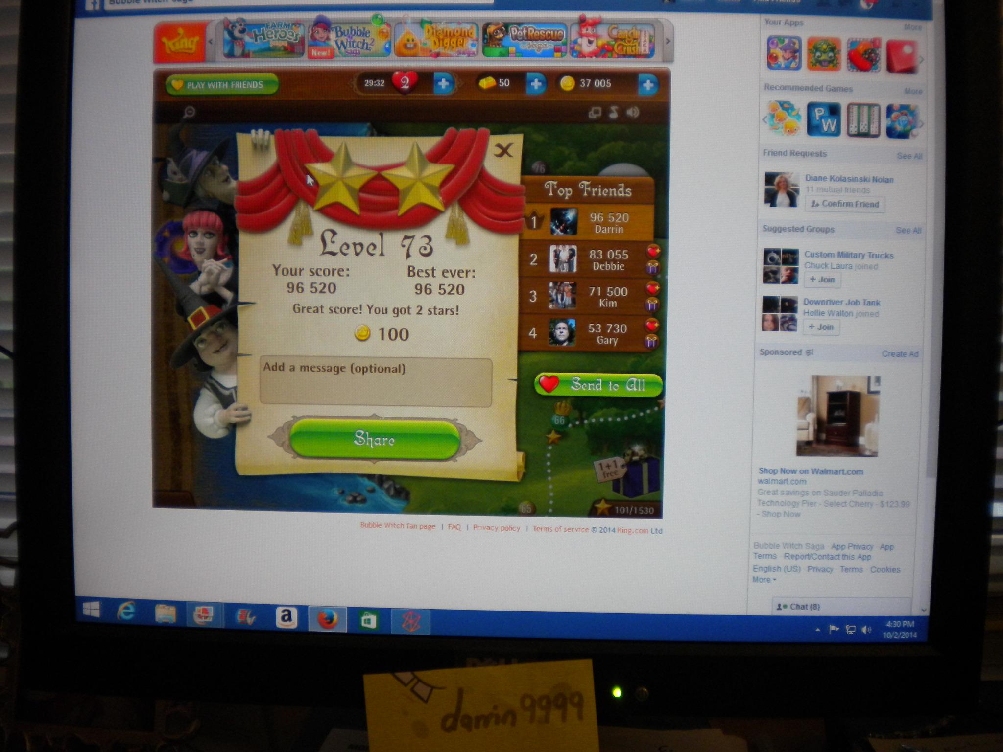 Bubble Witch Saga: Level 73 96,520 points