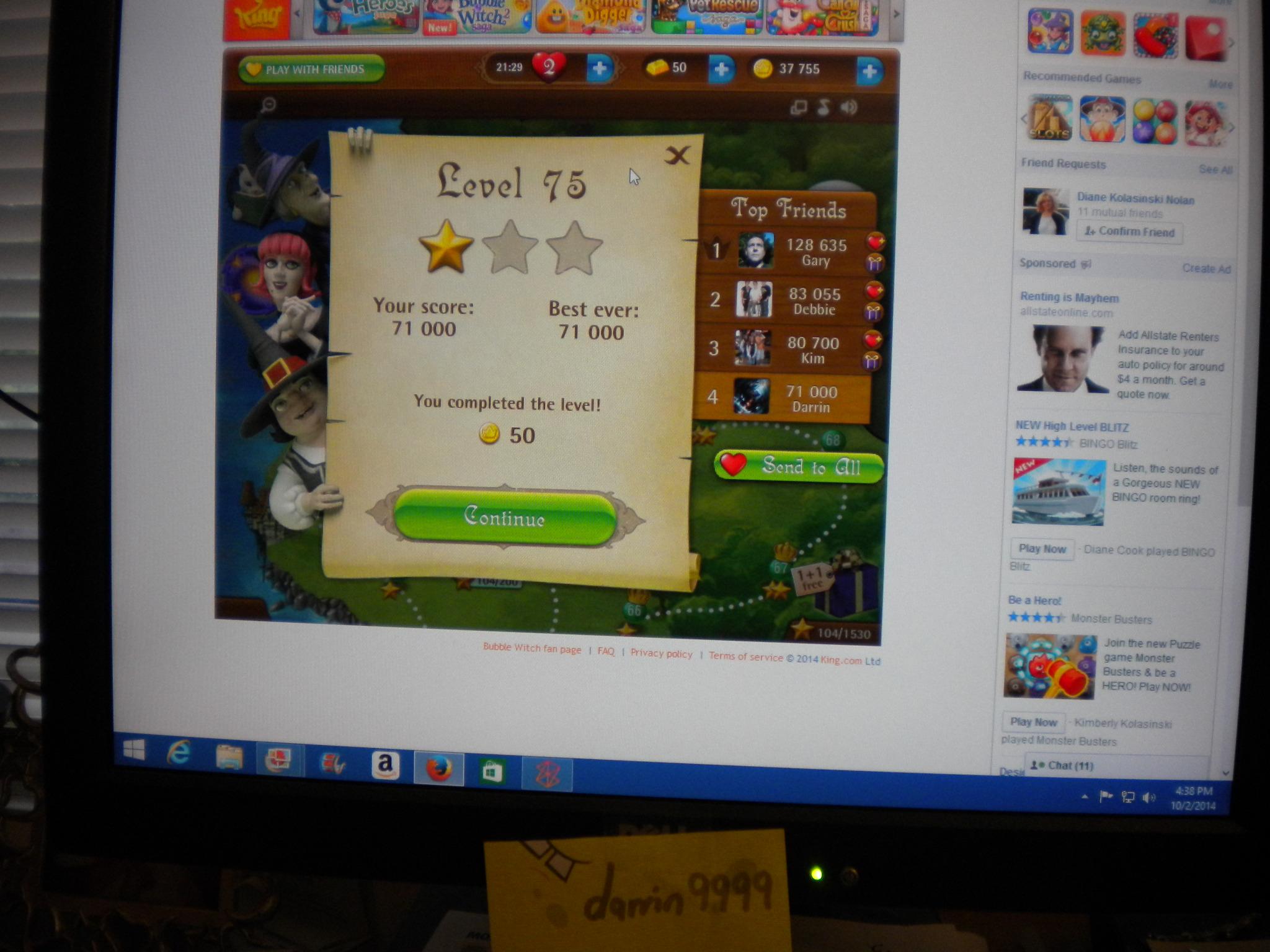 Bubble Witch Saga: Level 75 71,000 points