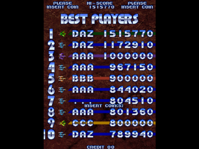 shmupperfromhell: Cyvern (Arcade Emulated / M.A.M.E.) 1,515,770 points on 2013-09-05 06:39:49