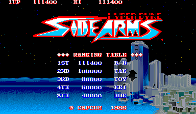 BarryBloso: Hyper Dyne Side Arms [sidearms] (Arcade Emulated / M.A.M.E.) 111,400 points on 2014-10-04 07:43:25