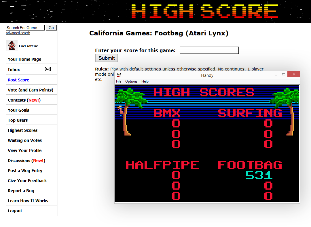 California Games: Footbag 531 points