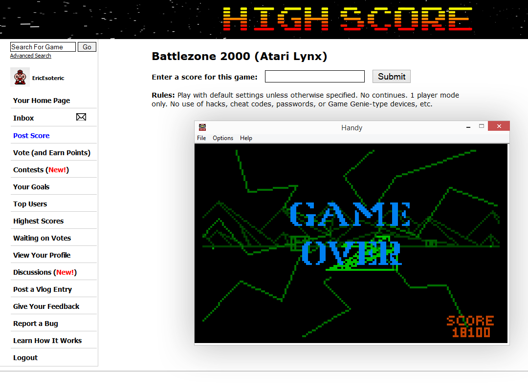EricEsoteric: Battlezone 2000 (Atari Lynx Emulated) 18,100 points on 2014-10-06 02:21:06