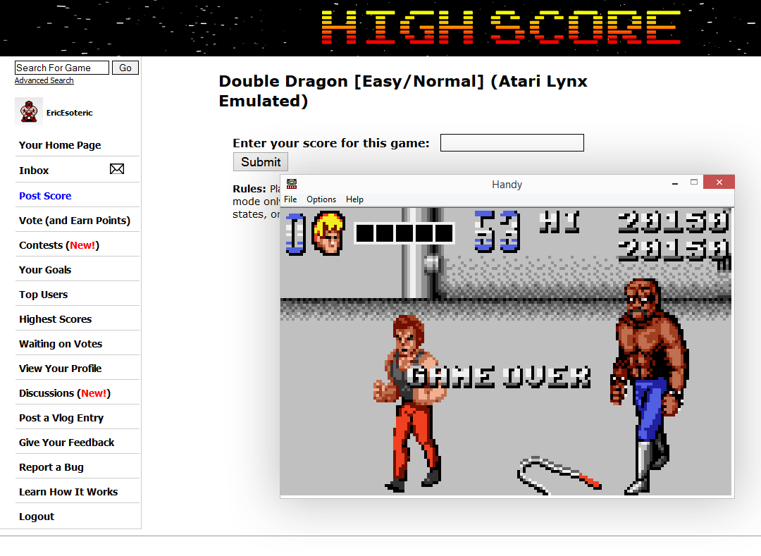EricEsoteric: Double Dragon [Easy/Normal] (Atari Lynx Emulated) 20,150 points on 2014-10-06 02:31:37