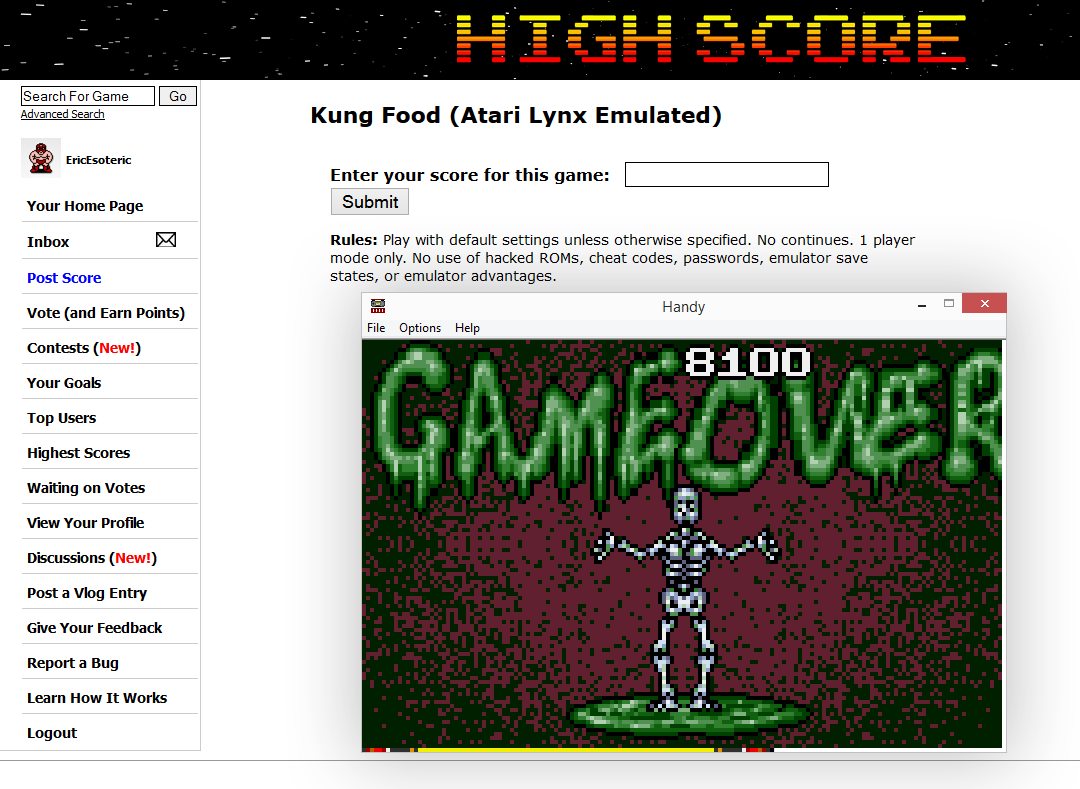EricEsoteric: Kung Food (Atari Lynx Emulated) 8,100 points on 2014-10-06 02:53:12