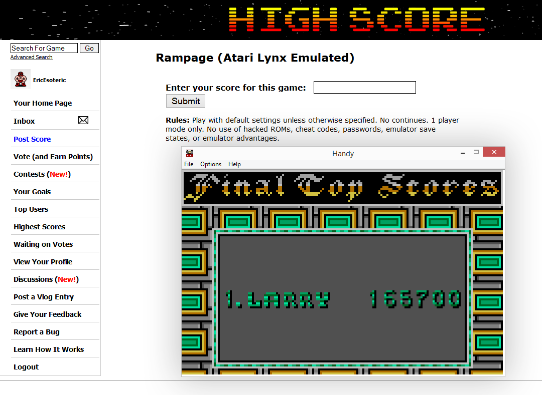 EricEsoteric: Rampage (Atari Lynx Emulated) 165,700 points on 2014-10-06 03:25:07