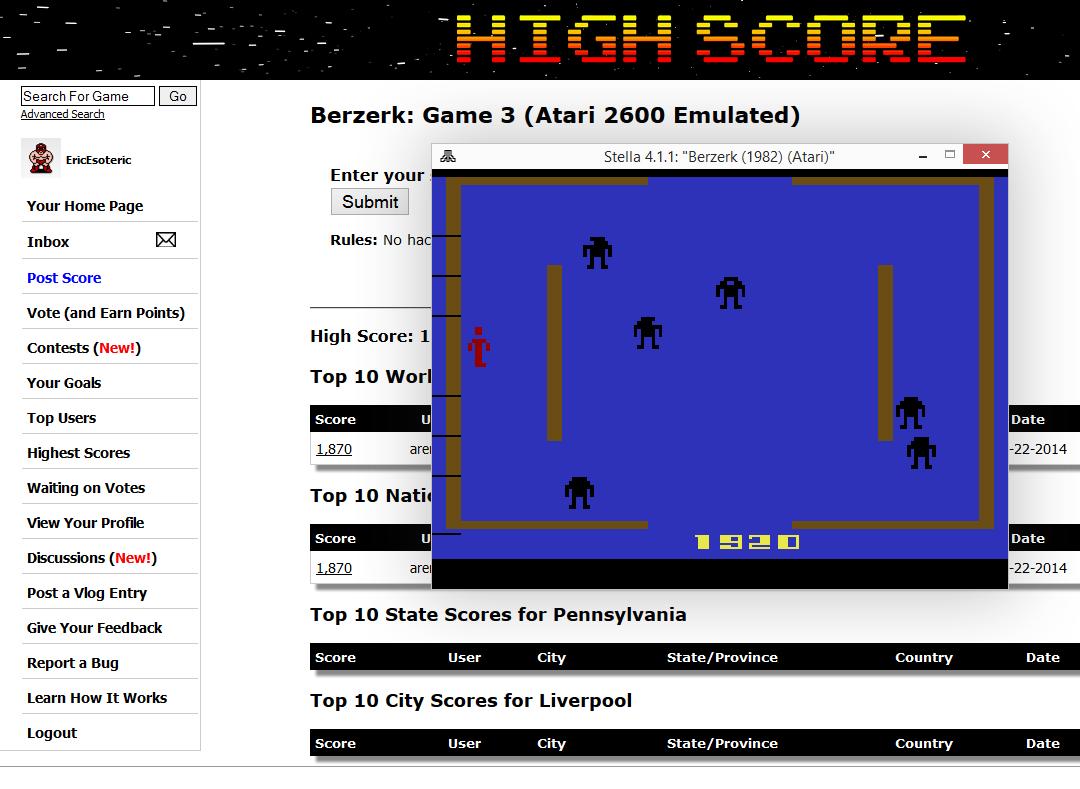 Berzerk: Game 3 1,920 points