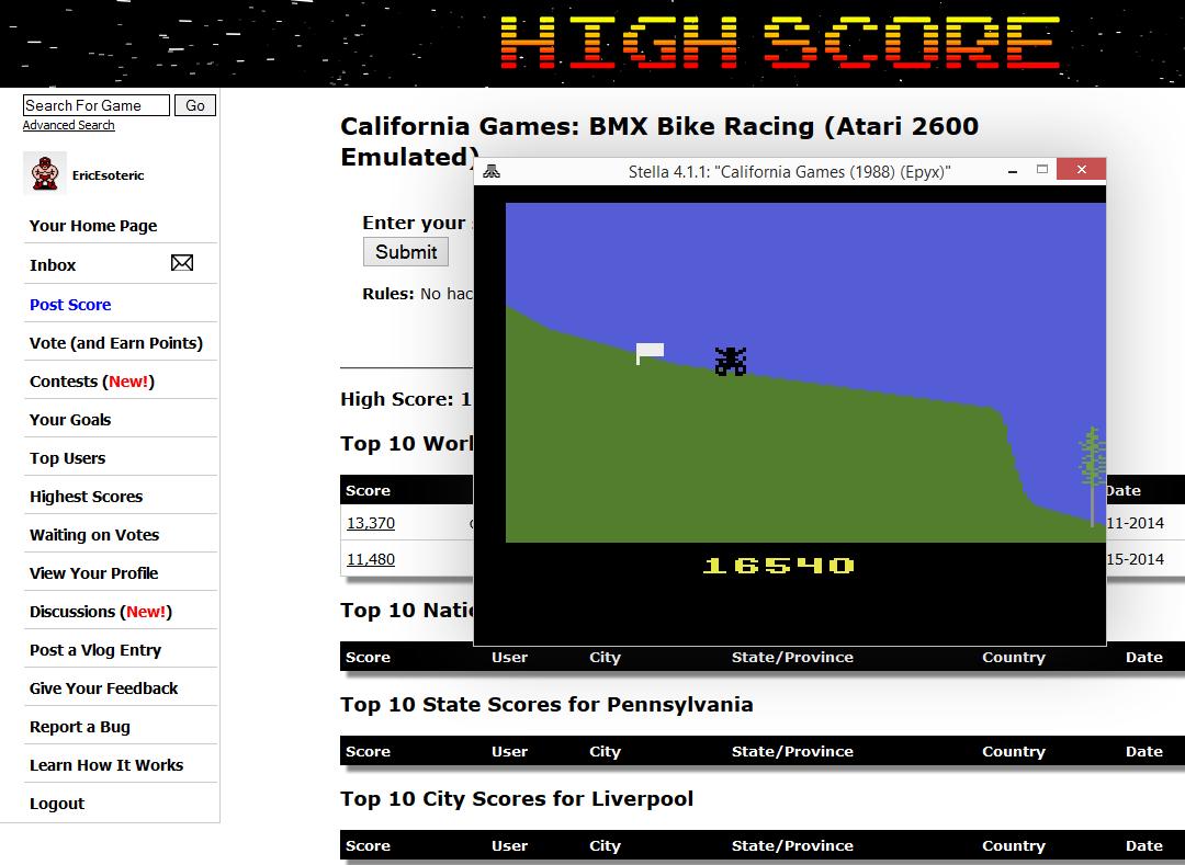 California Games: BMX Bike Racing 16,540 points