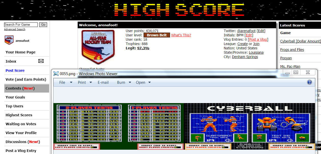 arenafoot: Cyberball [Dollar Amount] (Arcade Emulated / M.A.M.E.) 362,500 points on 2014-10-06 23:29:39