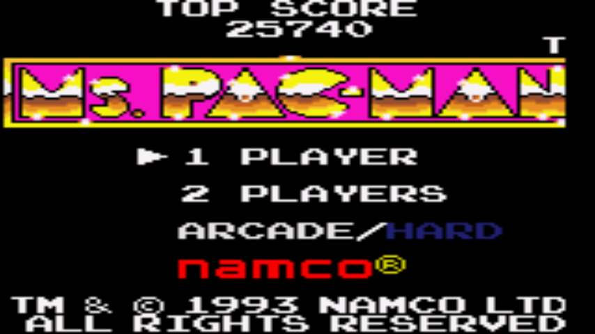 Ms. Pac-Man 25,740 points