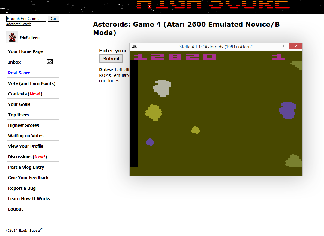 EricEsoteric: Asteroids: Game 4 (Atari 2600 Emulated Novice/B Mode) 12,820 points on 2014-10-08 15:11:34