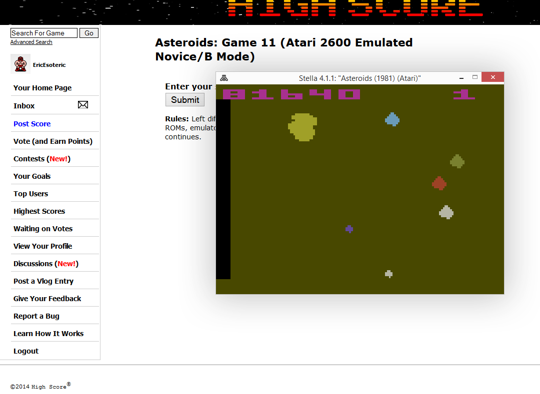 EricEsoteric: Asteroids: Game 11 (Atari 2600 Emulated Novice/B Mode) 81,640 points on 2014-10-08 15:34:27