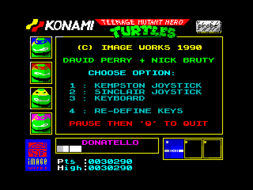 mechafatnick: Teenage Mutant Ninja Turtles (ZX Spectrum Emulated) 30,290 points on 2014-10-10 00:32:15