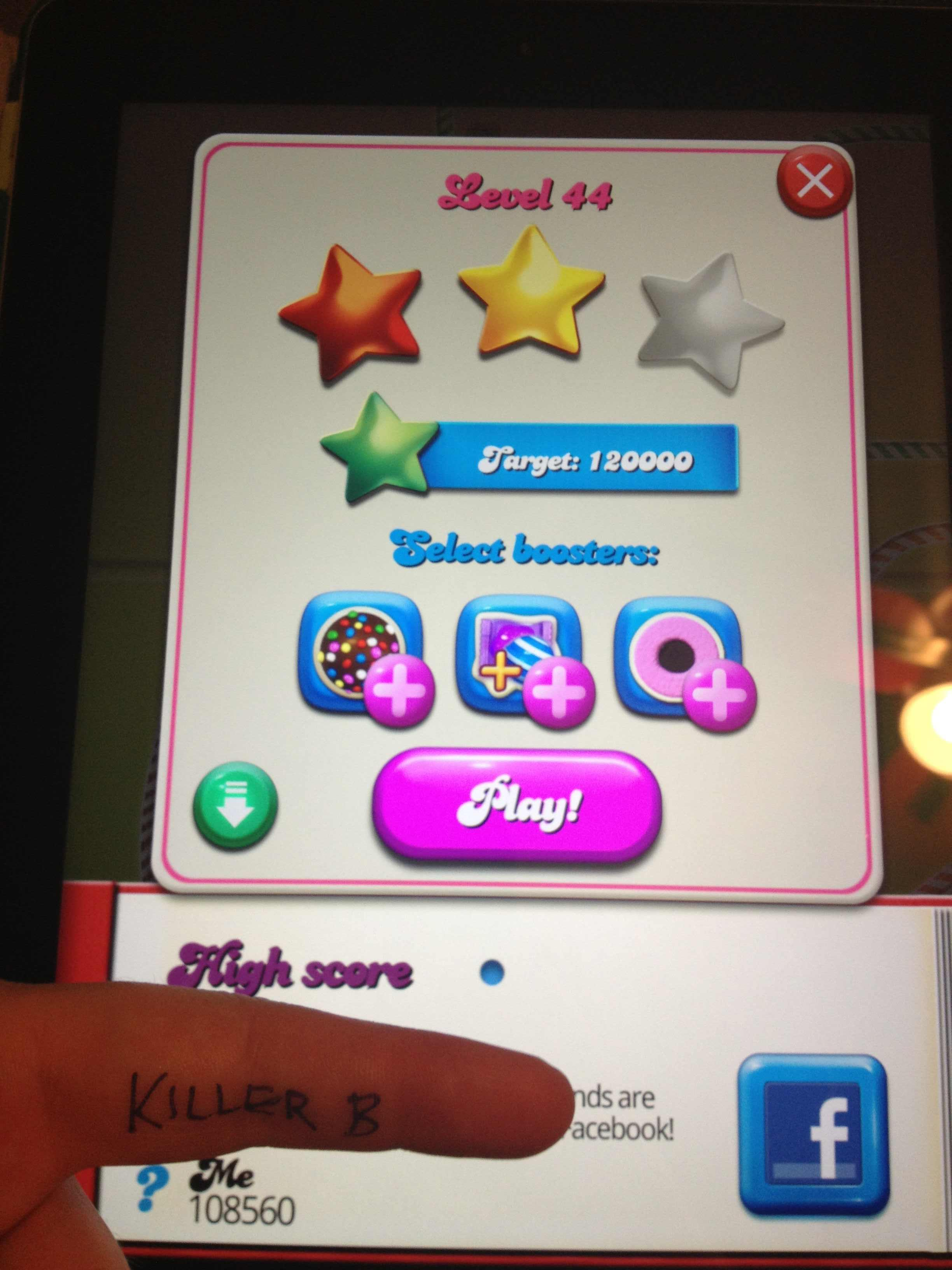 KillerB: Candy Crush Saga: Level 044 (iOS) 108,560 points on 2013-10-09 22:25:29