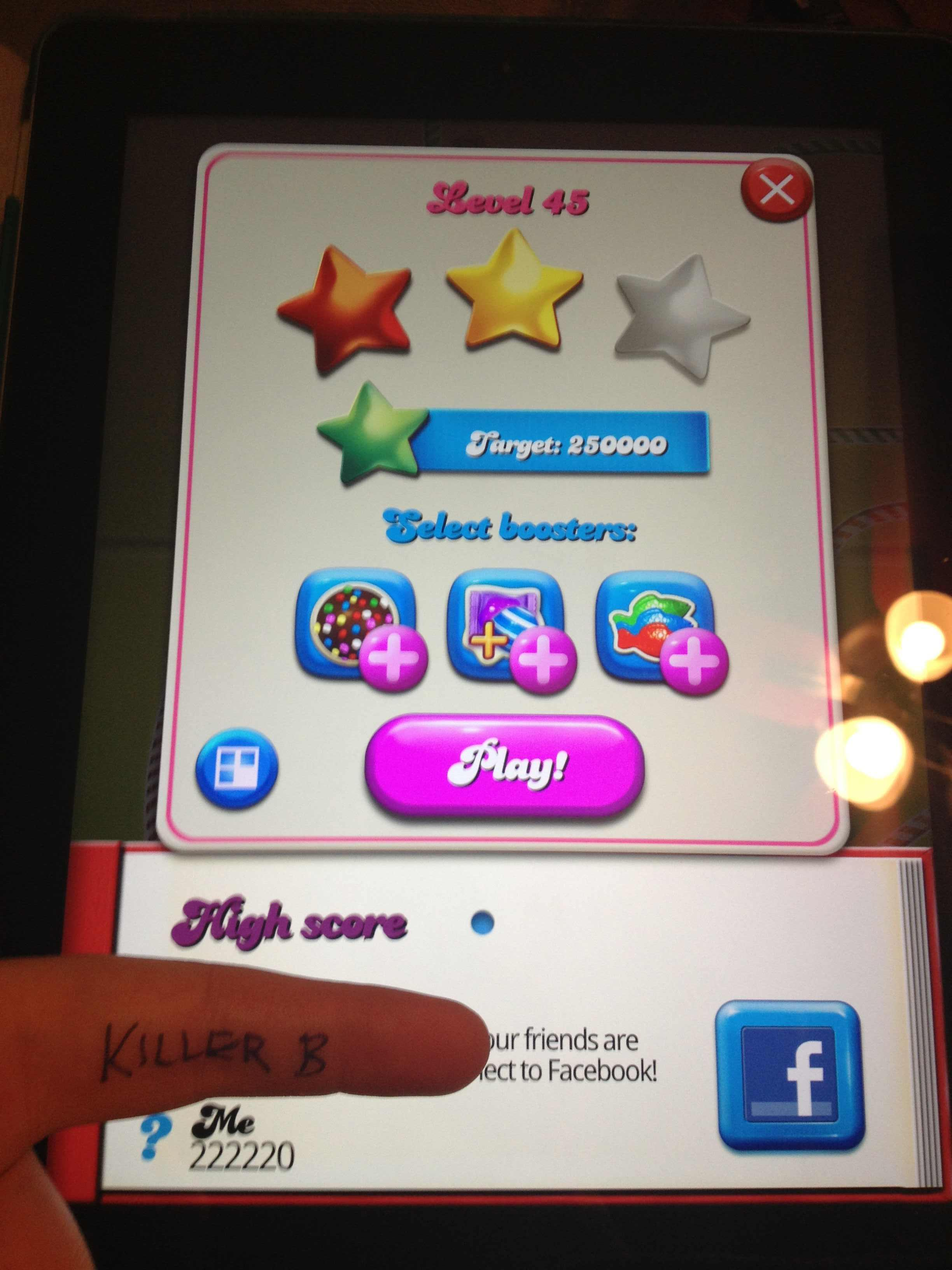 KillerB: Candy Crush Saga: Level 045 (iOS) 222,220 points on 2013-10-09 22:27:29