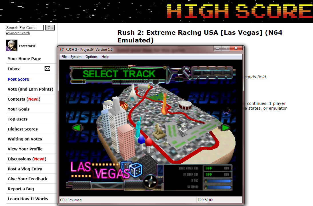 FosterAMF: Rush 2: Extreme Racing USA [Las Vegas] (N64 Emulated) 0:05:44.56 points on 2014-10-10 15:47:18