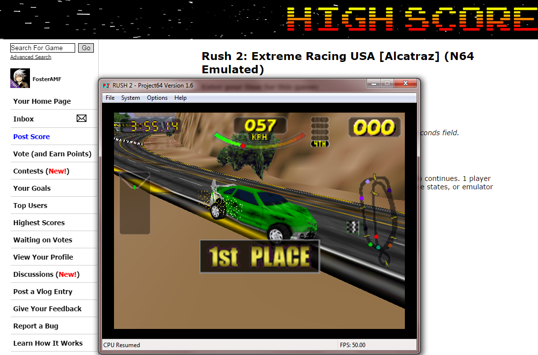 FosterAMF: Rush 2: Extreme Racing USA [Alcatraz] (N64 Emulated) 0:03:55.14 points on 2014-10-10 16:05:45