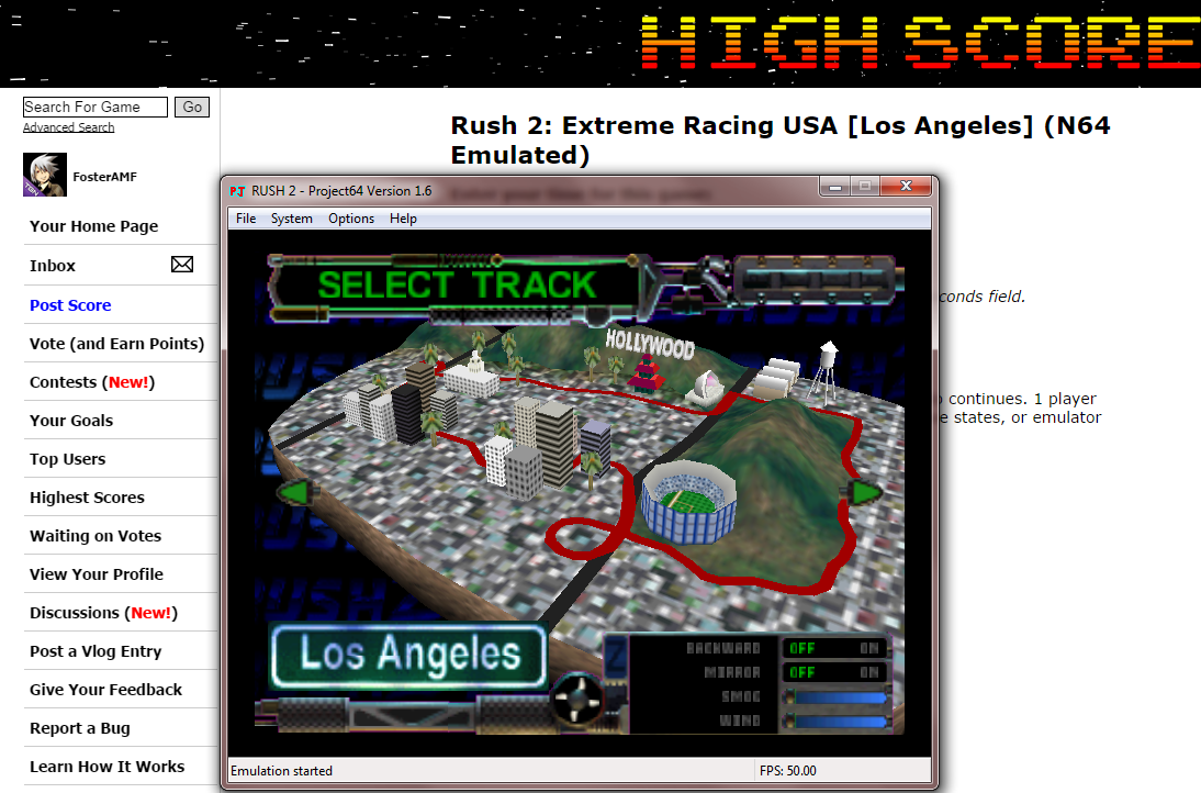 FosterAMF: Rush 2: Extreme Racing USA [Los Angeles] (N64 Emulated) 0:07:57.02 points on 2014-10-10 16:54:18