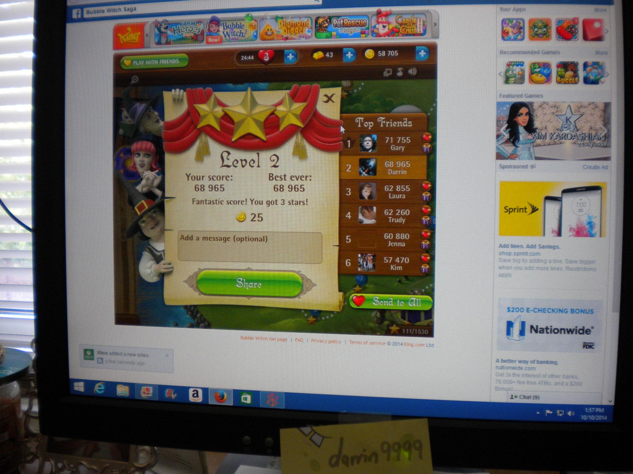 Bubble Witch Saga: Level 2 68,965 points