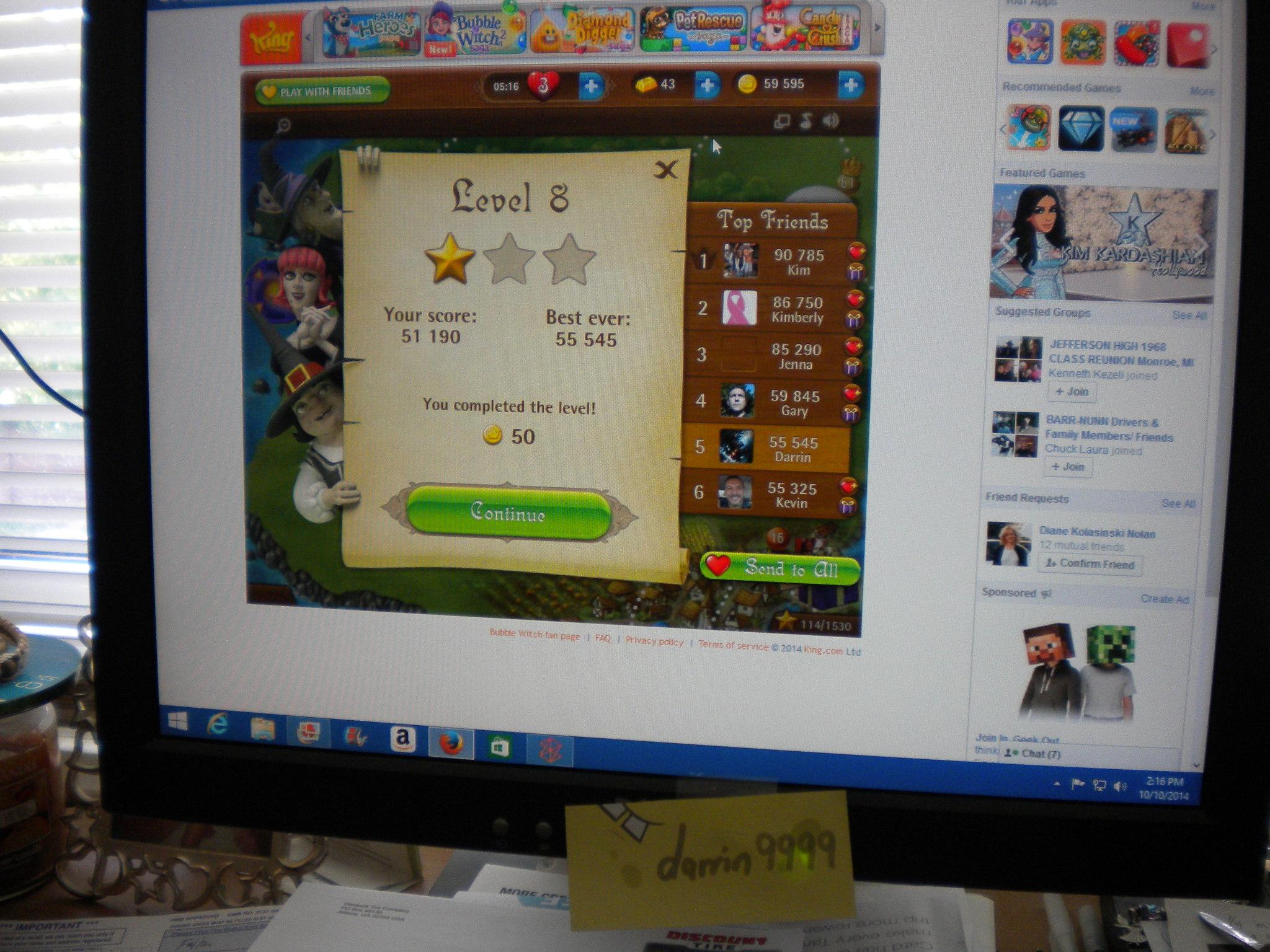 Bubble Witch Saga: Level 8 55,545 points