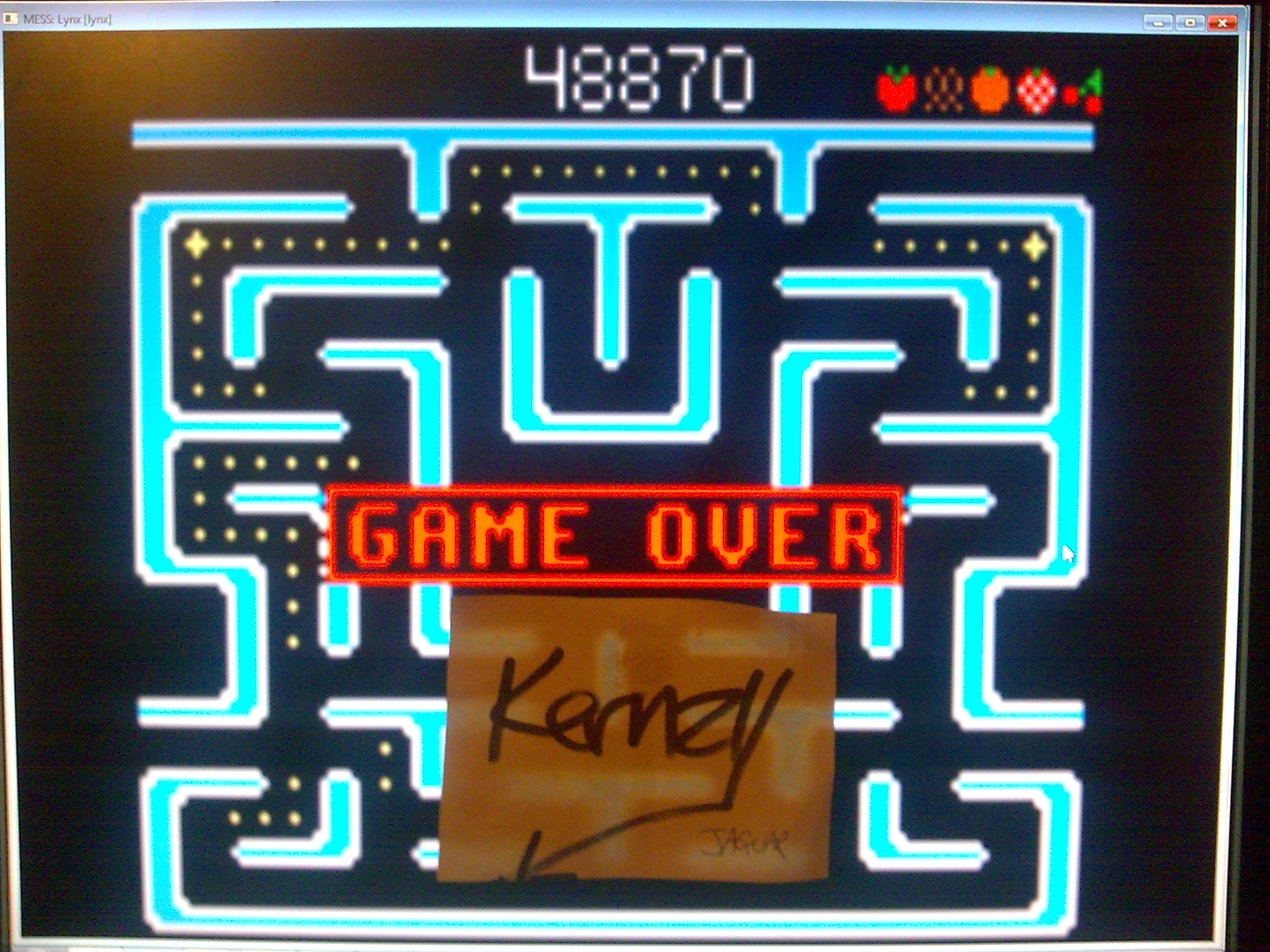 kernzy: Ms. Pac-Man: Maze B [Red] (Atari Lynx Emulated) 48,870 points on 2014-10-11 14:31:41