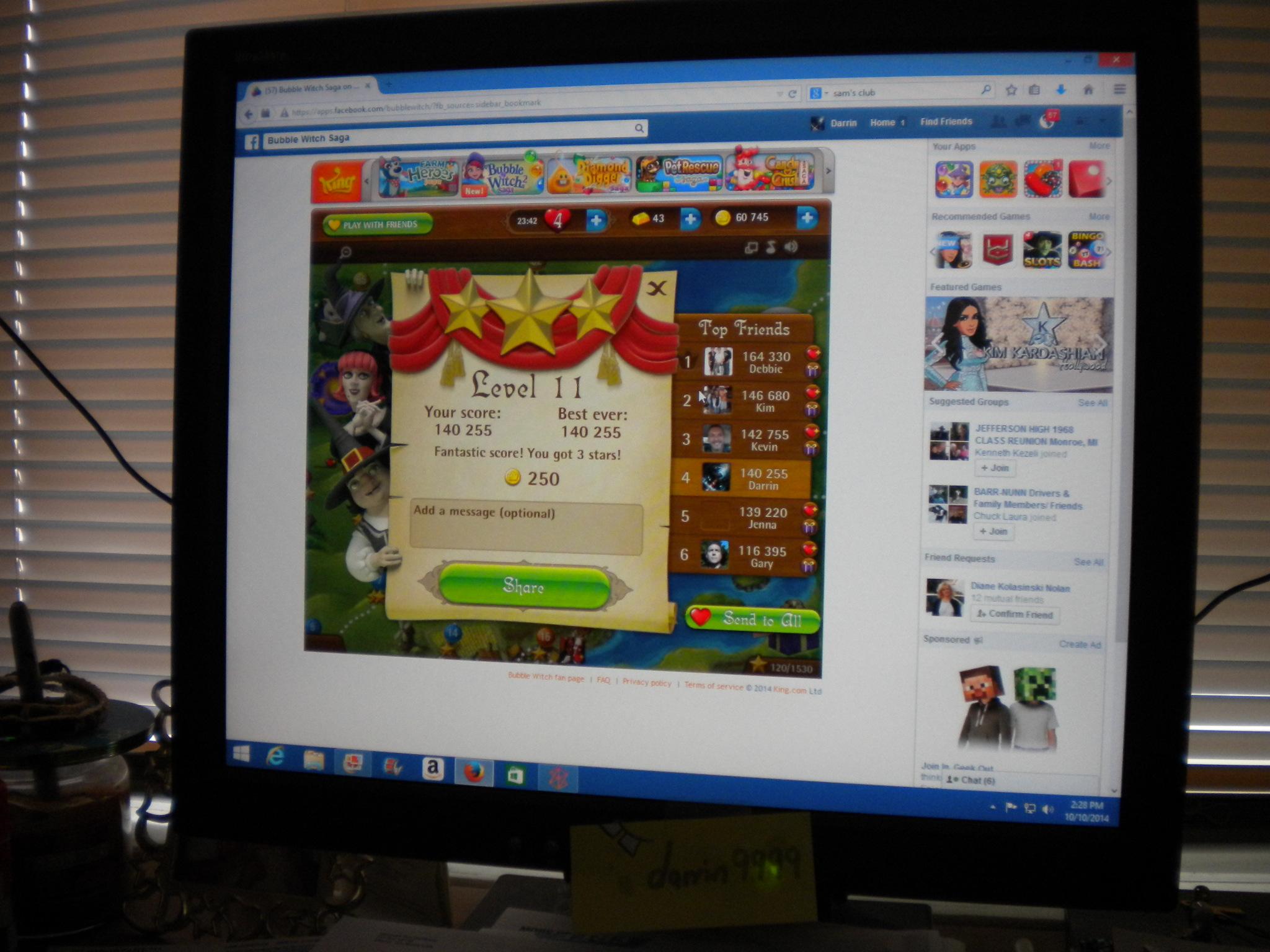 Bubble Witch Saga: Level 11 140,255 points