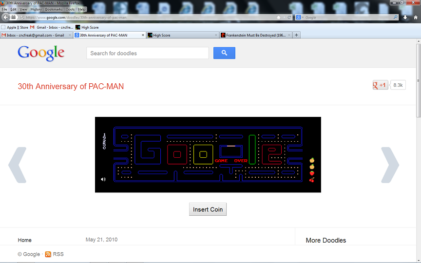 Google Pac-Man 19,250 points