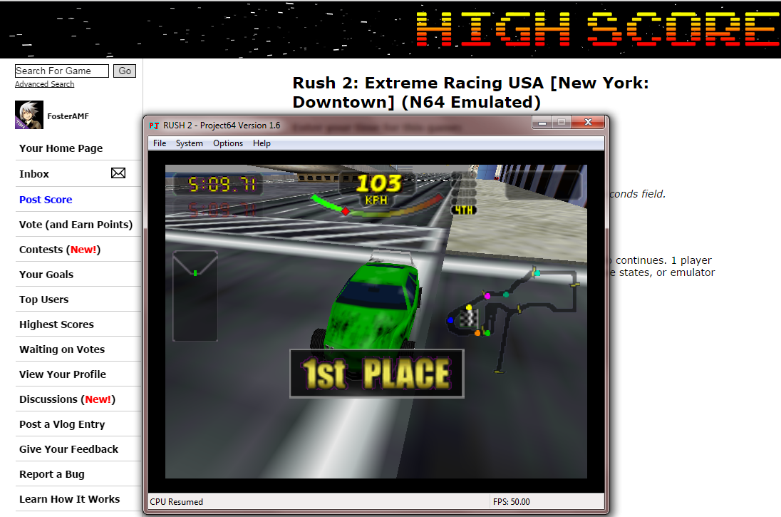 FosterAMF: Rush 2: Extreme Racing USA [New York: Downtown] (N64 Emulated) 0:05:09.71 points on 2014-10-11 21:41:03