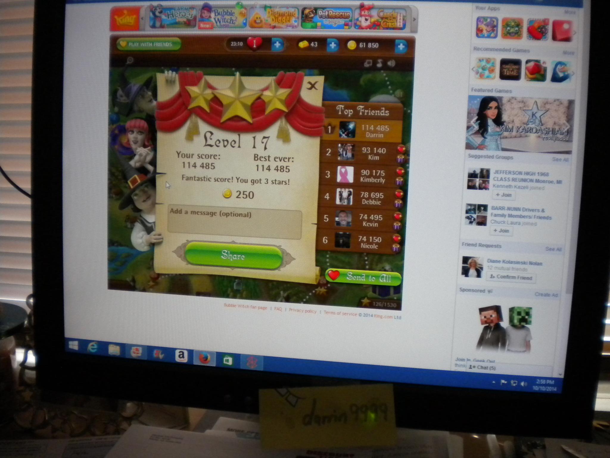 Bubble Witch Saga: Level 17 114,485 points