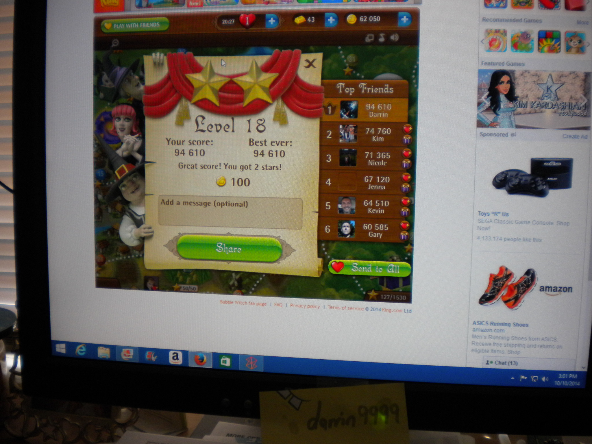 Bubble Witch Saga: Level 18 94,610 points