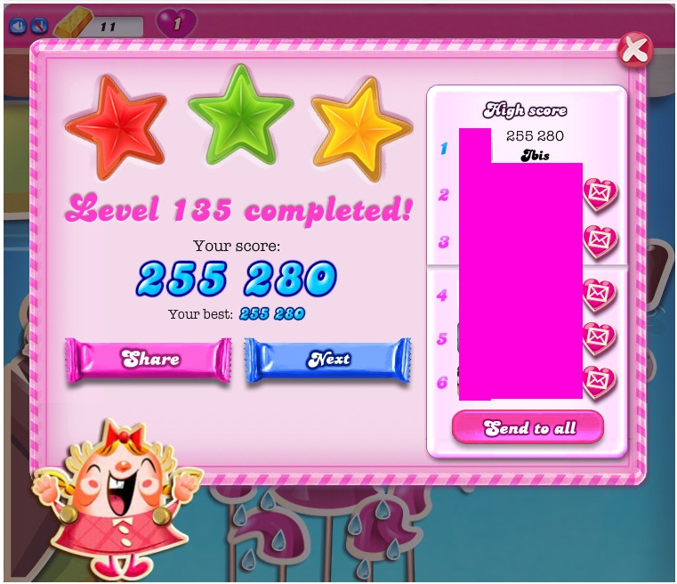 Candy Crush Saga: Level 135 255,280 points