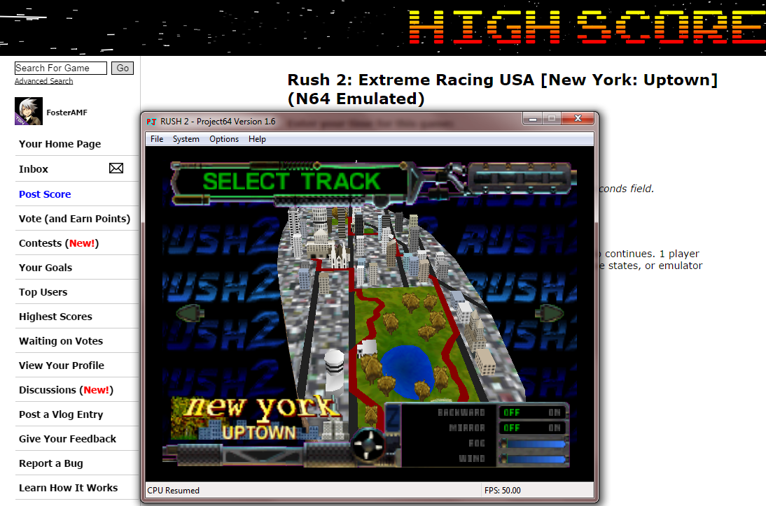 FosterAMF: Rush 2: Extreme Racing USA [New York: Uptown] (N64 Emulated) 0:08:18.35 points on 2014-10-15 22:56:06
