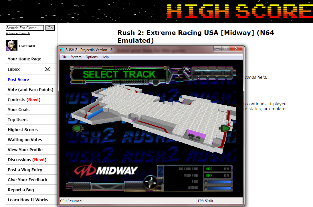 FosterAMF: Rush 2: Extreme Racing USA [Midway] (N64 Emulated) 0:04:24.06 points on 2014-10-15 23:15:12