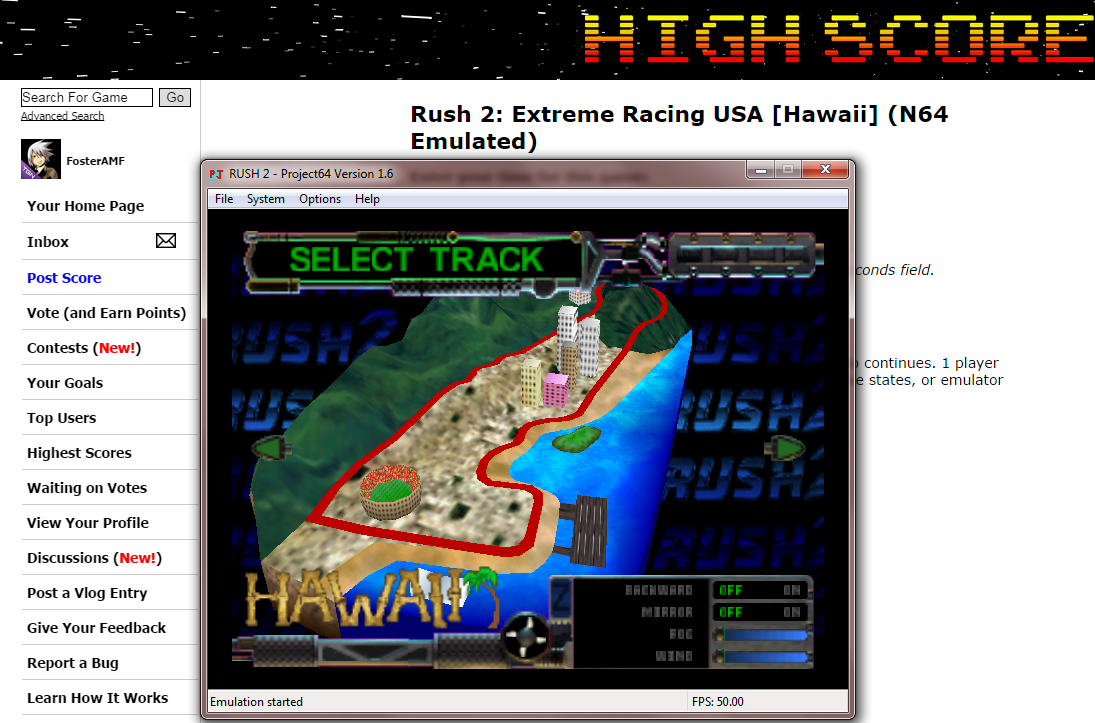 FosterAMF: Rush 2: Extreme Racing USA [Hawaii] (N64 Emulated) 0:07:00.37 points on 2014-10-16 16:22:35