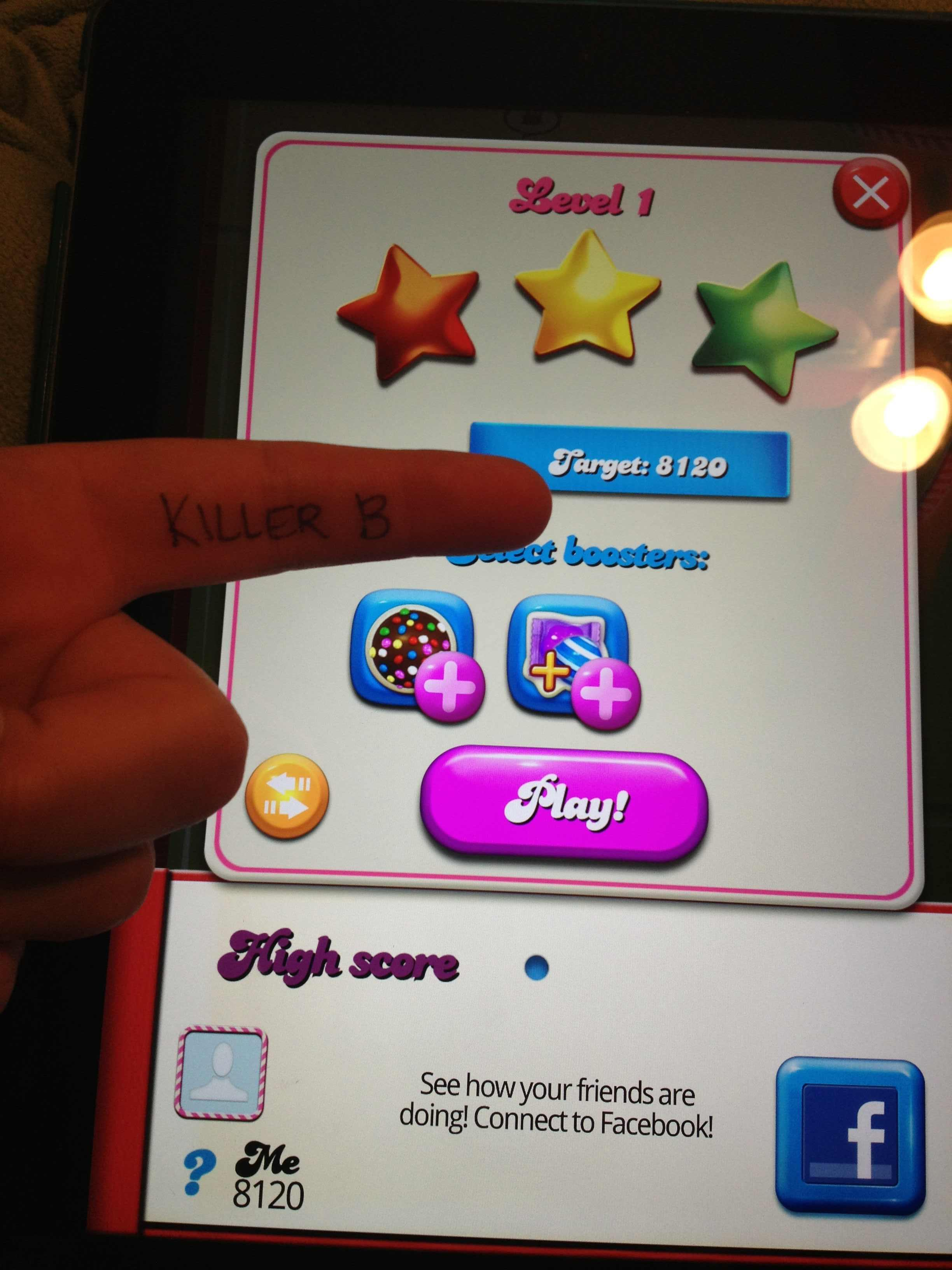 KillerB: Candy Crush Saga: Level 001 (iOS) 8,120 points on 2013-10-11 21:17:17