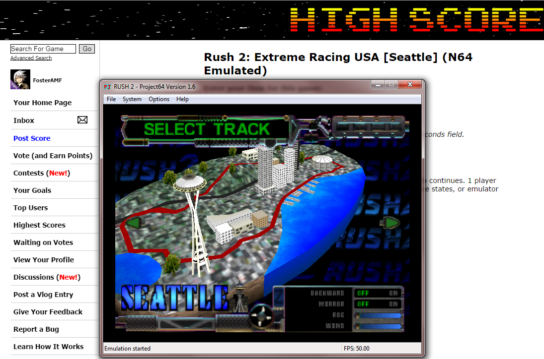 FosterAMF: Rush 2: Extreme Racing USA [Seattle] (N64 Emulated) 0:05:27.35 points on 2014-10-17 14:05:23