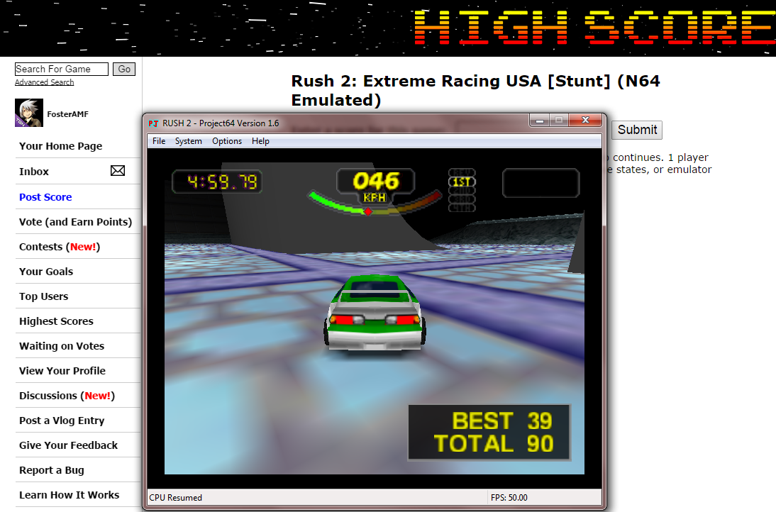 FosterAMF: Rush 2: Extreme Racing USA [Stunt] (N64 Emulated) 90 points on 2014-10-17 15:01:44