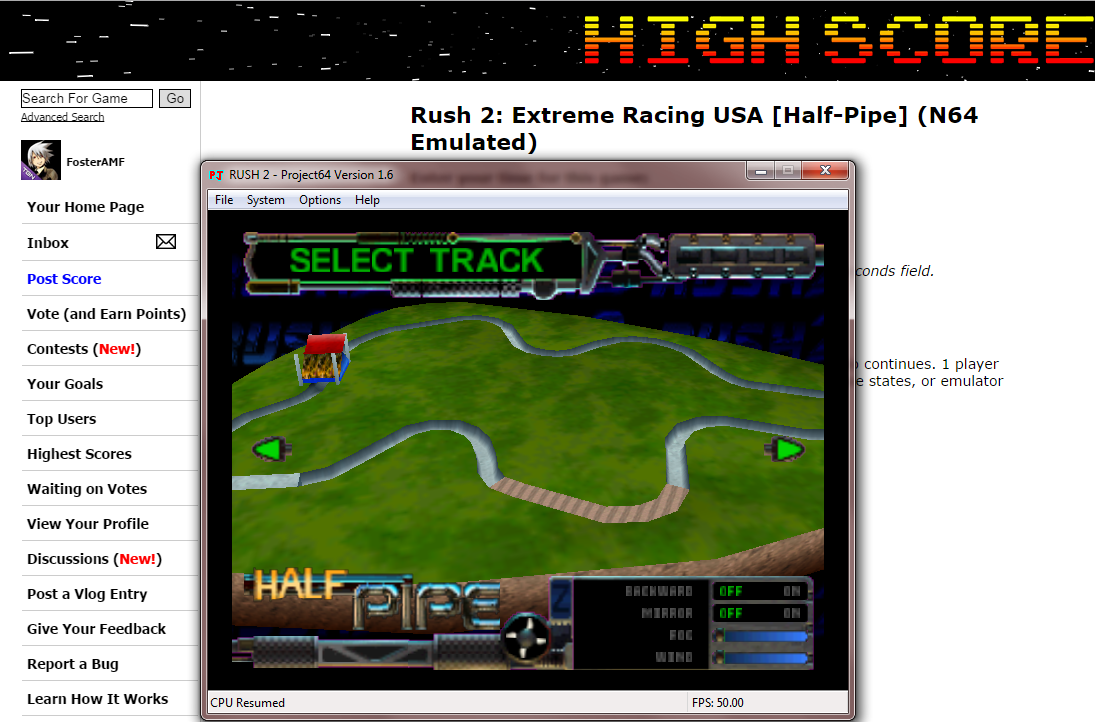 FosterAMF: Rush 2: Extreme Racing USA [Half-Pipe] (N64 Emulated) 0:03:33.86 points on 2014-10-17 16:05:25