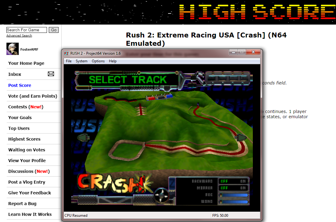 FosterAMF: Rush 2: Extreme Racing USA [Crash] (N64 Emulated) 0:04:29.62 points on 2014-10-17 16:14:05