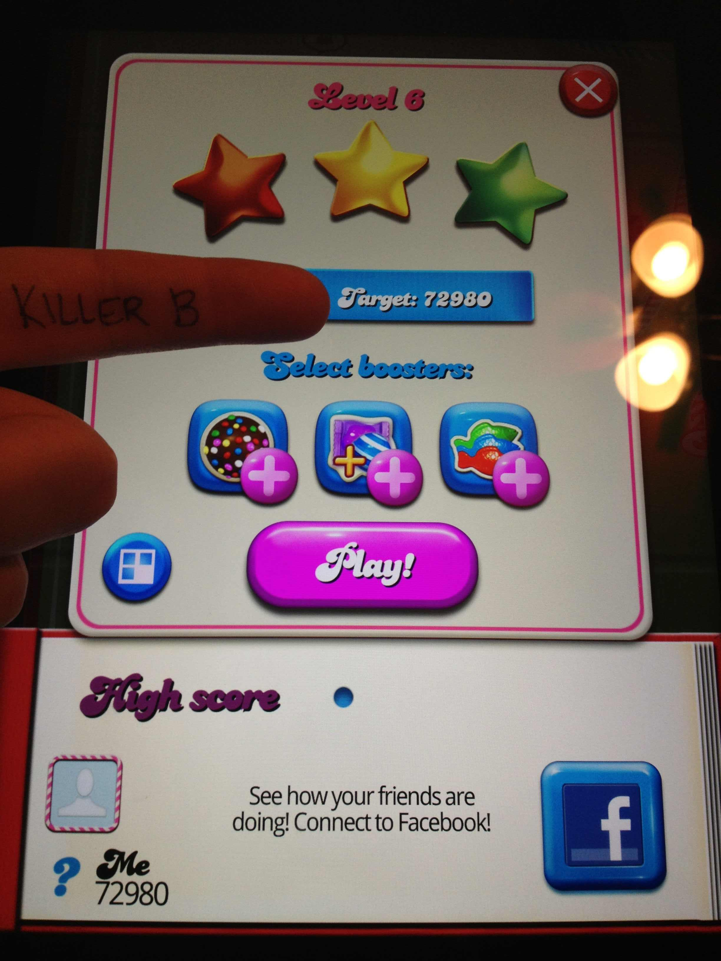KillerB: Candy Crush Saga: Level 006 (iOS) 72,980 points on 2013-10-11 21:22:04