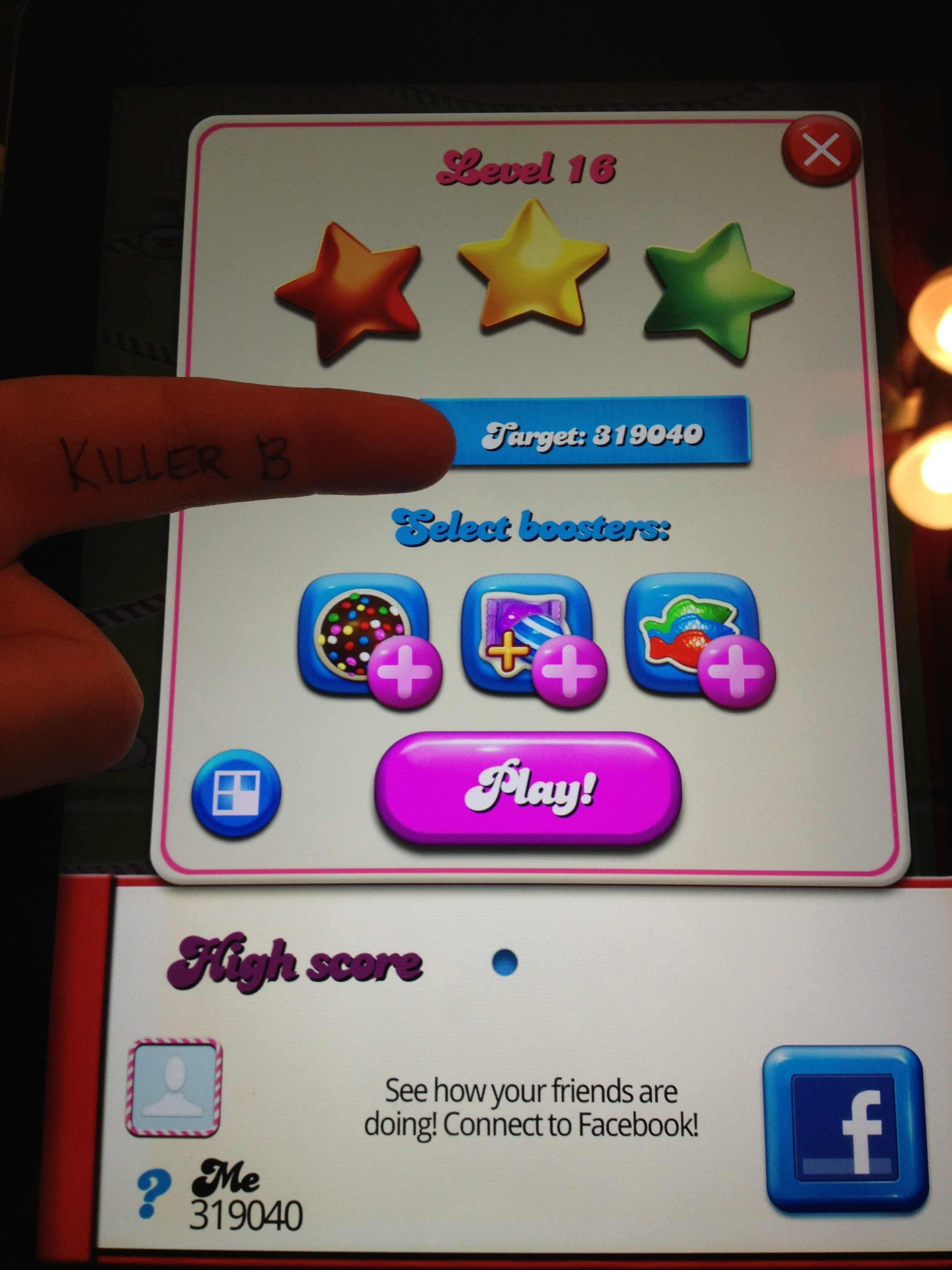 KillerB: Candy Crush Saga: Level 016 (iOS) 319,040 points on 2013-10-11 21:23:49