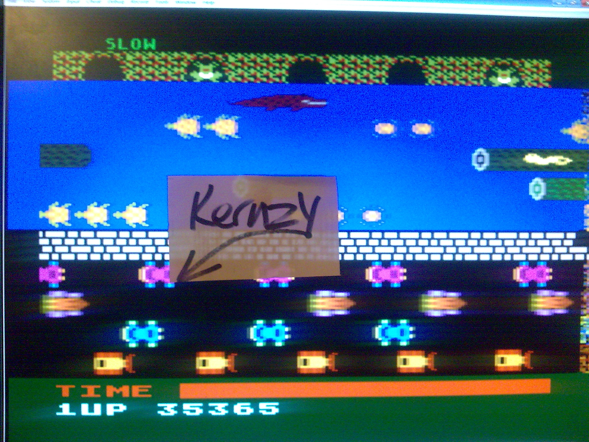 kernzy: Frogger: Slow [Parker Brothers] (Atari 400/800/XL/XE Emulated) 35,365 points on 2014-10-17 20:57:02
