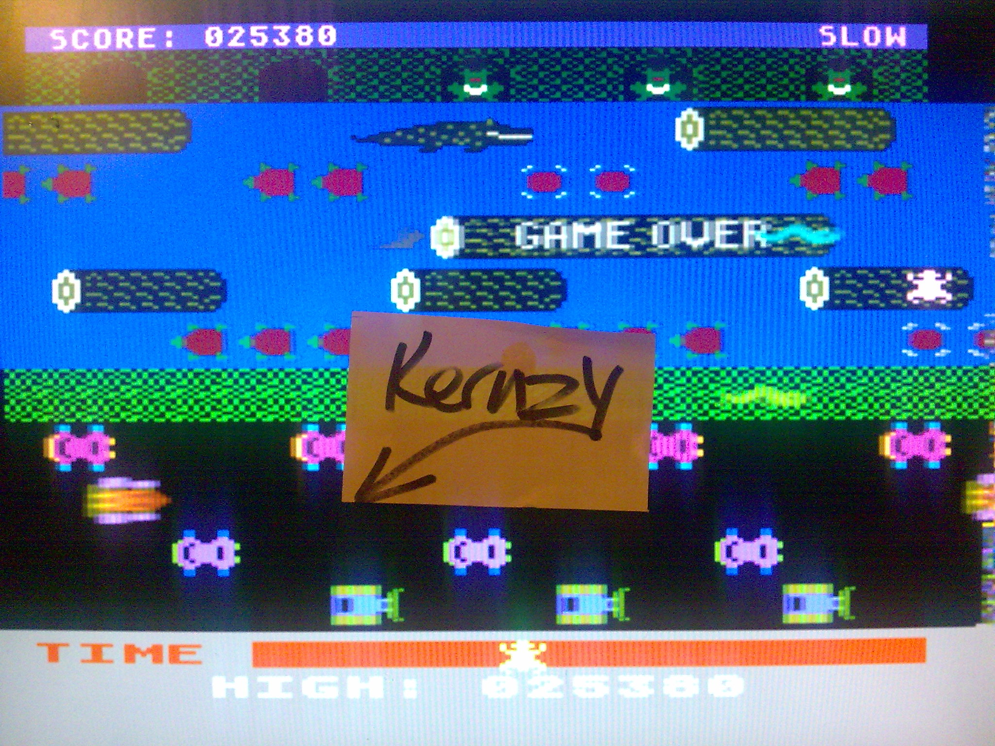 kernzy: Frogger: Slow [Sierra Online/Chuck Benton] (Atari 400/800/XL/XE Emulated) 25,380 points on 2014-10-17 21:01:08