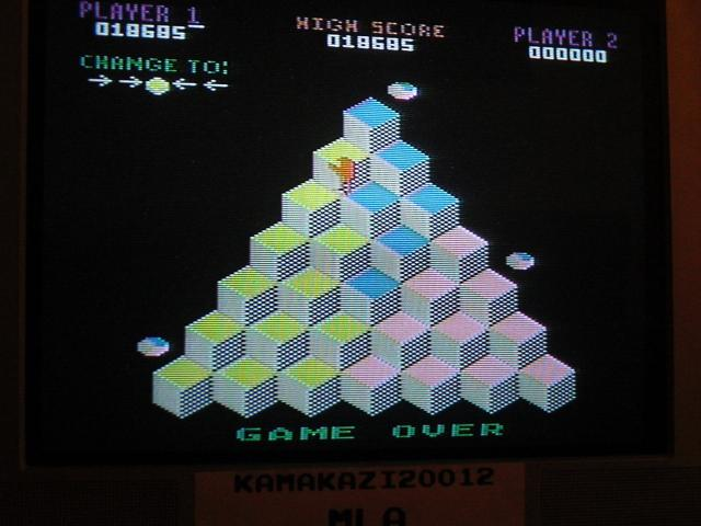 Q*Bert: Game 1 18,685 points