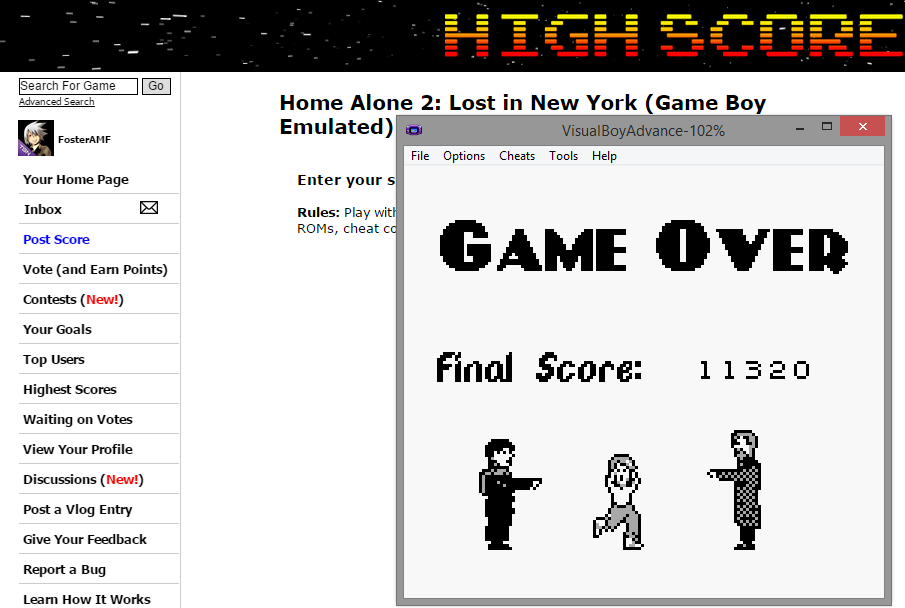 FosterAMF: Home Alone 2: Lost in New York (Game Boy Emulated) 11,320 points on 2014-10-18 15:35:26