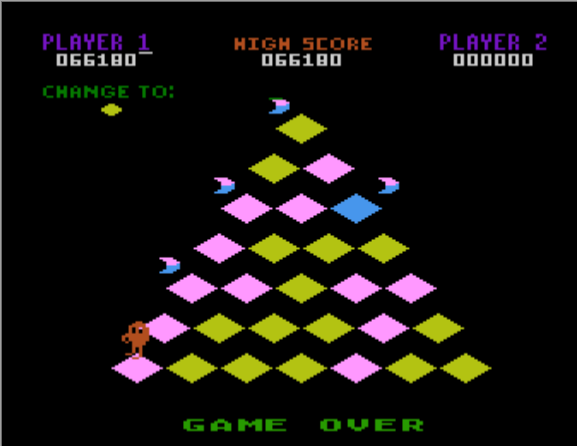 Liduario: Q-Bert [Game 1] (Atari 400/800/XL/XE Emulated) 66,180 points on 2014-10-18 16:08:51