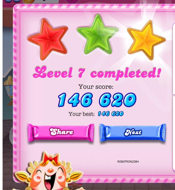Robotron2084: Candy Crush Saga: Level 007 (Web) 146,620 points on 2013-10-12 17:47:00