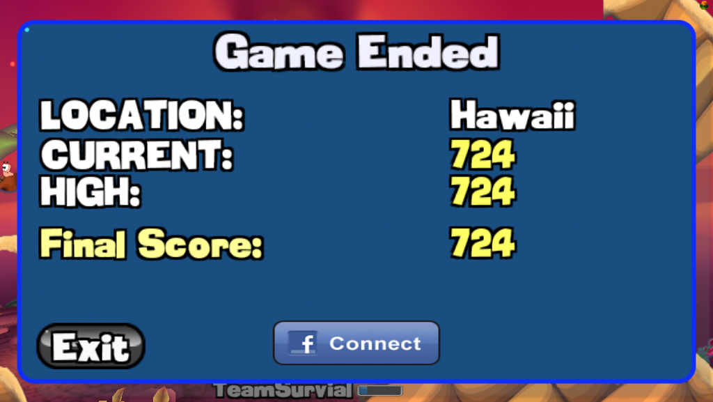 Congslop: Worms: Body Count Mode:  Hawaii (iOS) 724 points on 2014-10-25 18:24:01