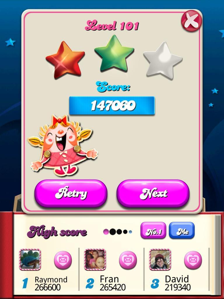 killersquirel: Candy Crush Saga: Level 101 (iOS) 147,060 points on 2013-10-14 07:48:22