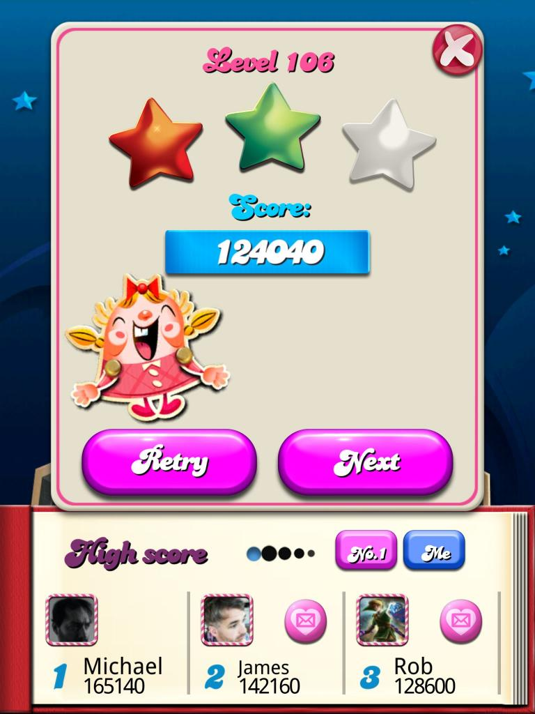 Candy Crush Saga: Level 106 124,040 points